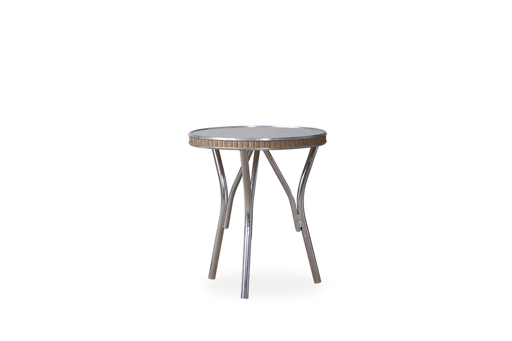 """All Seasons 18.75"""" Round End Table with Taupe Glass"""