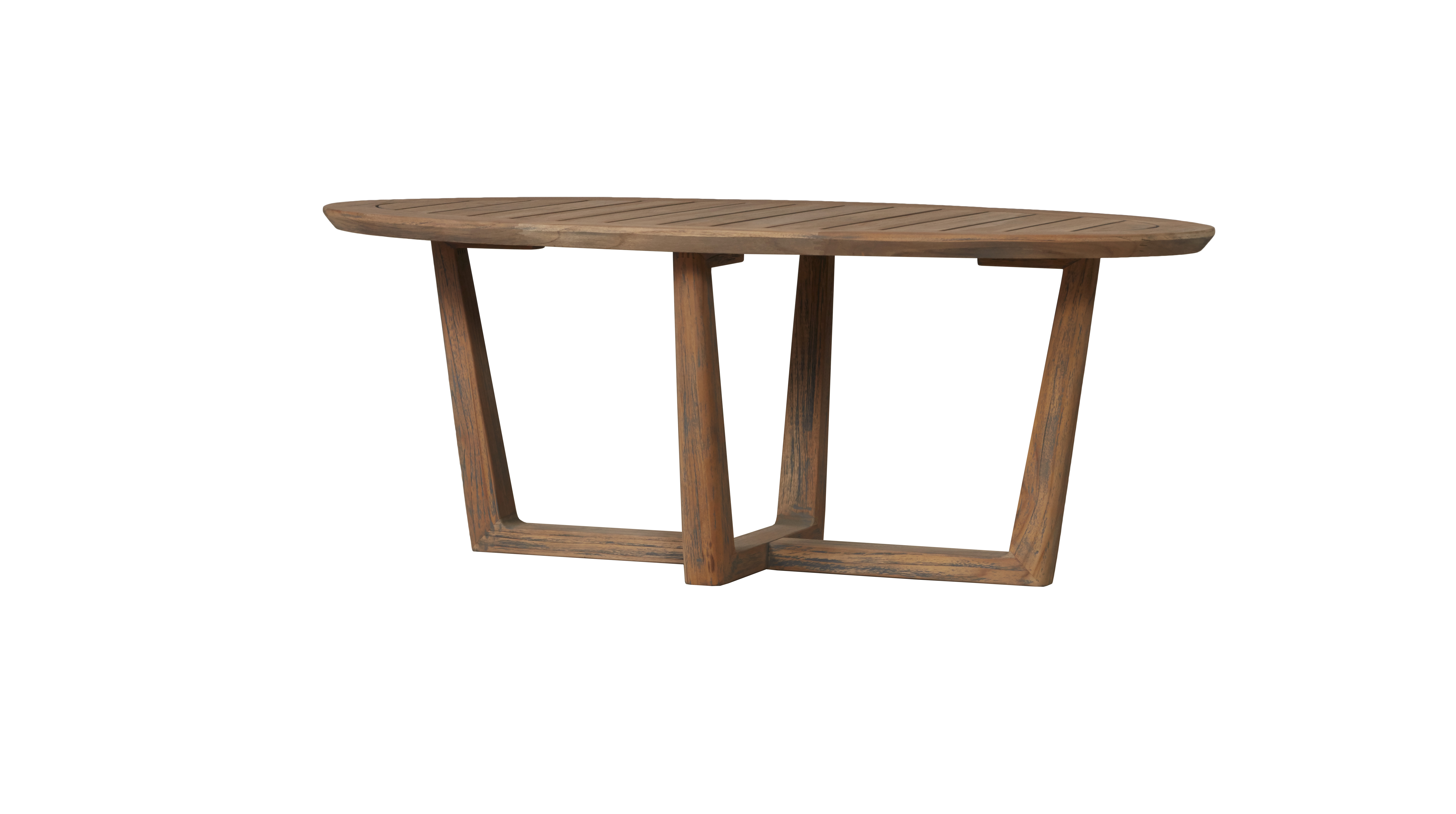 "Teak 48"" Oval Sled Base Cocktail Table"
